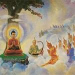 Bouddha préchant dans le Tavatimsa