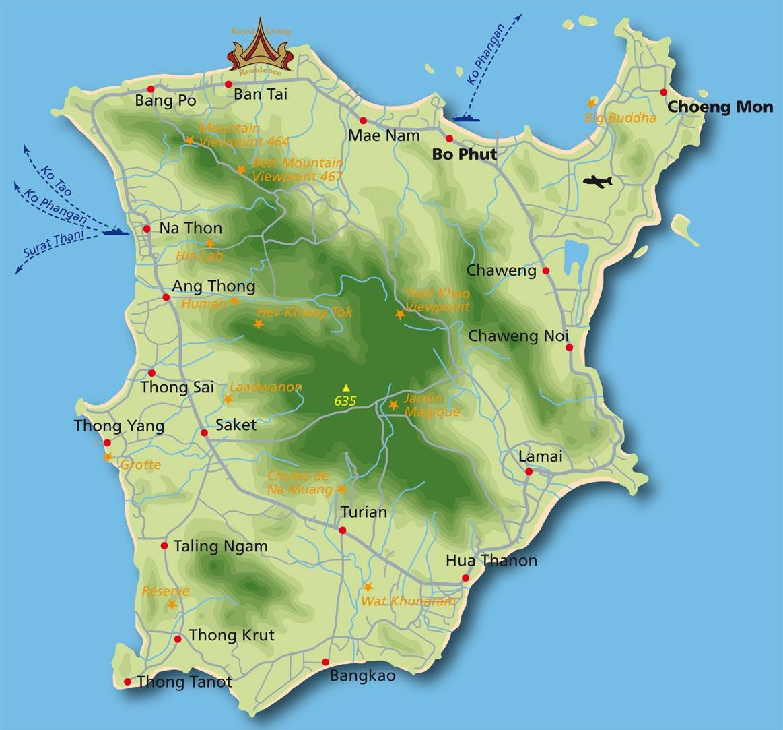 Carte Koh Samui En Francais.Voyage A Koh Samui Activites Tourisme Culture Plages