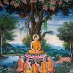 Premier sermon de Bouddha dans le parc Deer en Inde