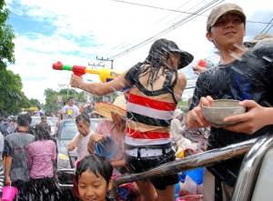 Bataille d'eau à Chiang Mai