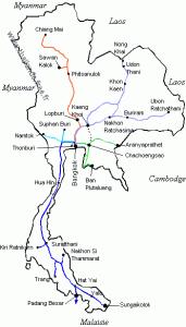 Carte du réseau férré en Thailande