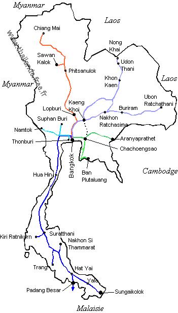 Thailande Carte Langues.Moyens De Transport En Thailande