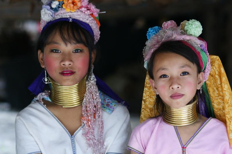 Portrait de deux filles de tribus montagnardes