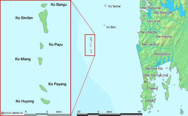Localisation des îles Similan, Koh Bon et Koh Tachai