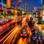 Bus Stop at Night Downtown Bangkok Thailand